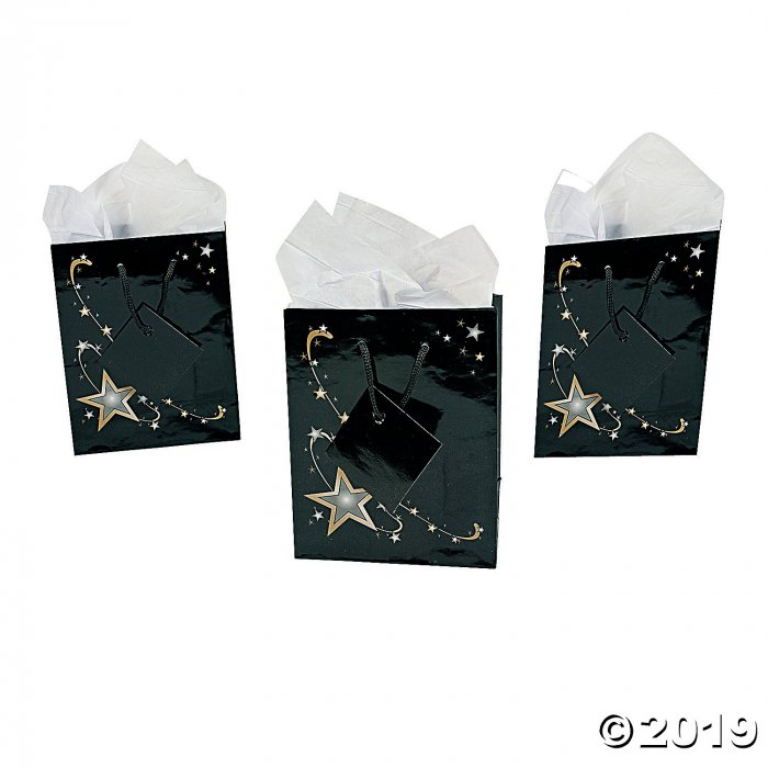 Small Gold Star Gift Bags with Tags (Per Dozen)