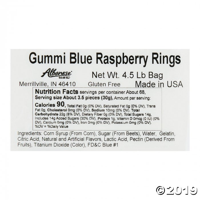 Albanese® Blue Raspberry Gummi Ring Candy (292 Piece(s))