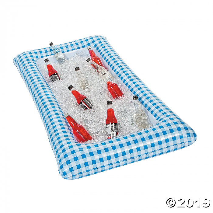 Blue Gingham Inflatable Buffet Cooler (1 Piece(s))