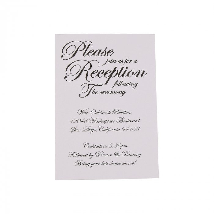 Personalized Traditional Script Wedding Reception Cards (25 Piece(s))