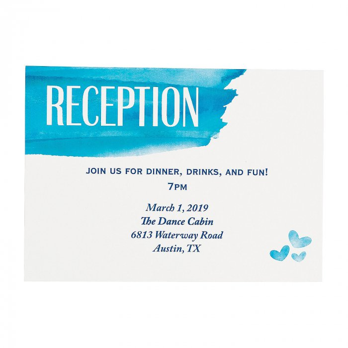 Personalized Blue Watercolor Reception Cards (25 Piece(s))