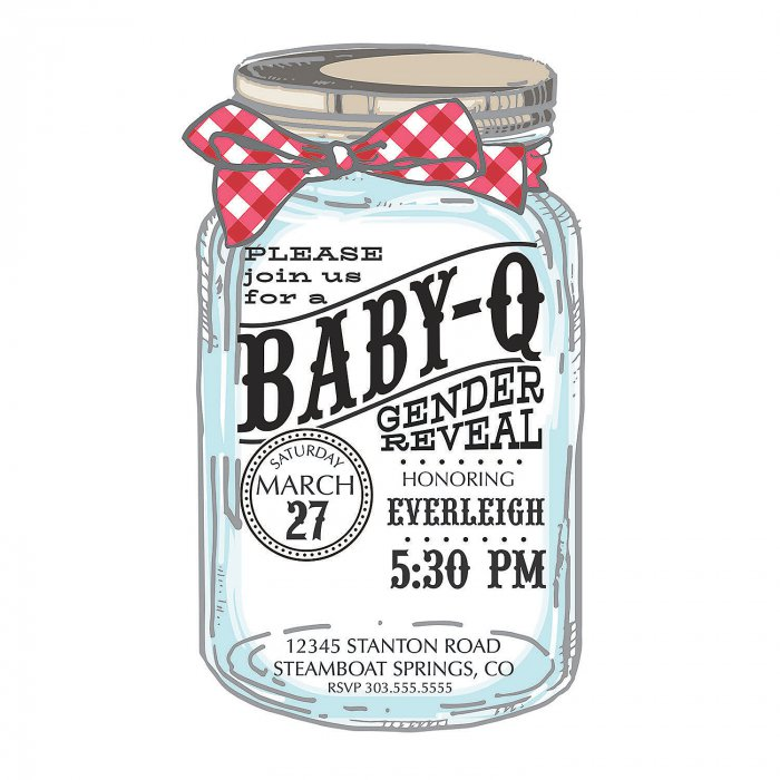 Personalized Baby-Q Gender Reveal Invitations (10 Piece(s))