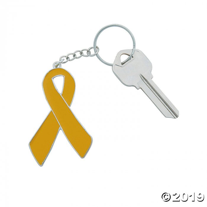 Gold Awareness Ribbon Keychains (Per Dozen)