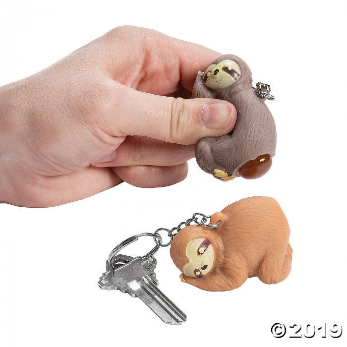 Squeeze & Poop Sloth Keychains (Per Dozen)