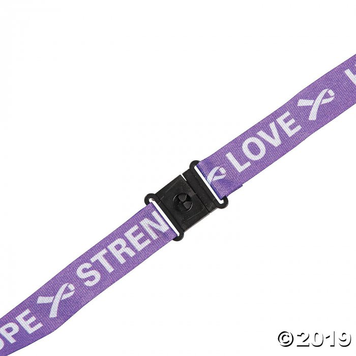 Purple Ribbon Awareness Lanyards (Per Dozen)