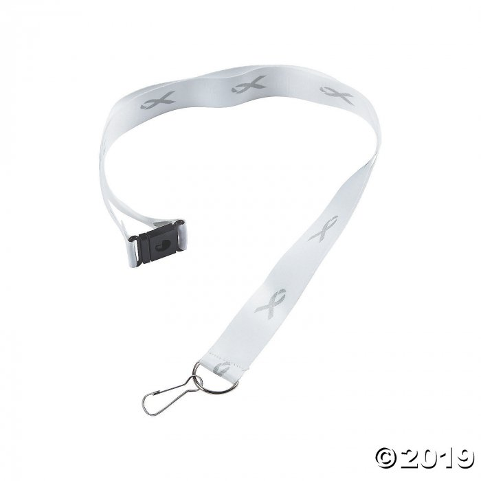 Grey Awareness Ribbon Badge Holder Lanyards (Per Dozen)
