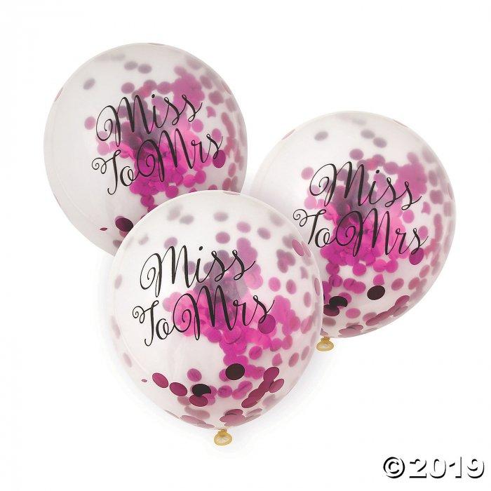 "Bachelorette Pink Foil Confetti 11"" Latex Balloons (Per Dozen)"