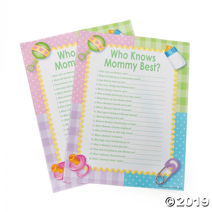 Who Knows Mommy Best Baby Shower Game (144 Piece(s))