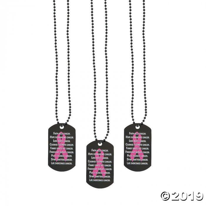Pink Awareness Ribbon Dog Tag Necklaces (Per Dozen)