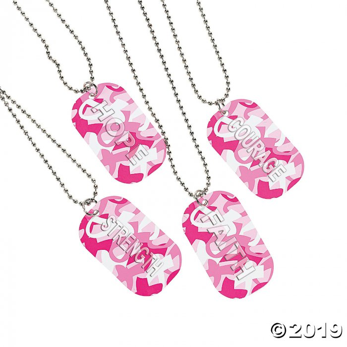Breast Cancer Awareness Camouflage Dog Tag Necklaces (Per Dozen)