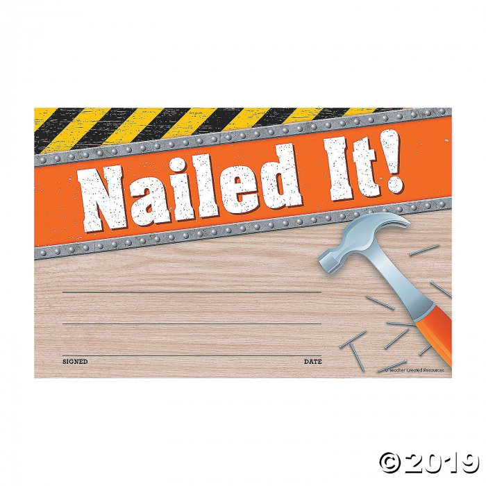 Under Construction Nailed It Award Certificates (30 Piece(s))