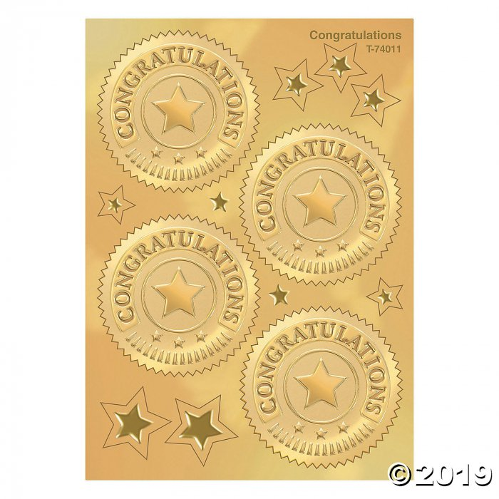 (6 Pk) Congratulations Gold Award (6 Piece(s))