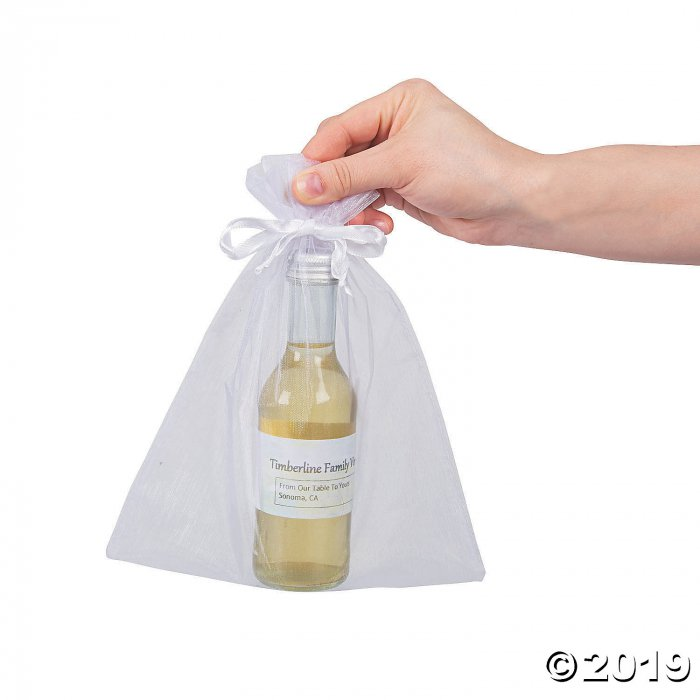 Large White Organza Drawstring Bags (Per Dozen)