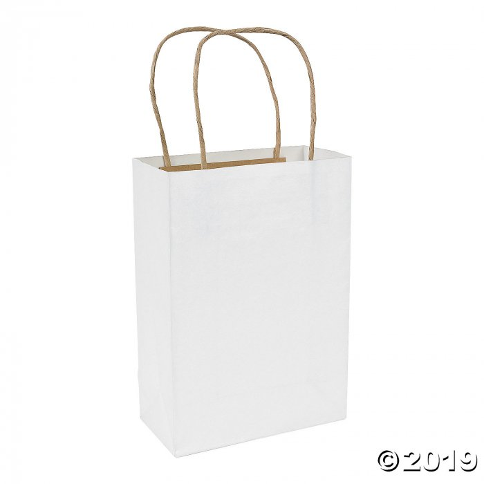 White Medium Kraft Paper Gift Bags (Per Dozen)