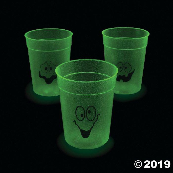 Glow-in-the-Dark Halloween Plastic Cups (Per Dozen)