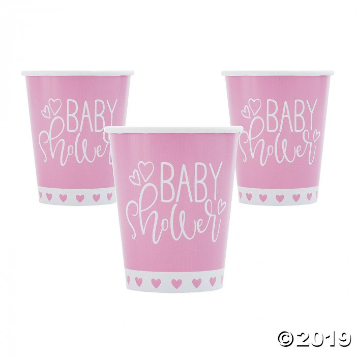 Pink Hearts Baby Shower Paper Cups (8 Piece(s))