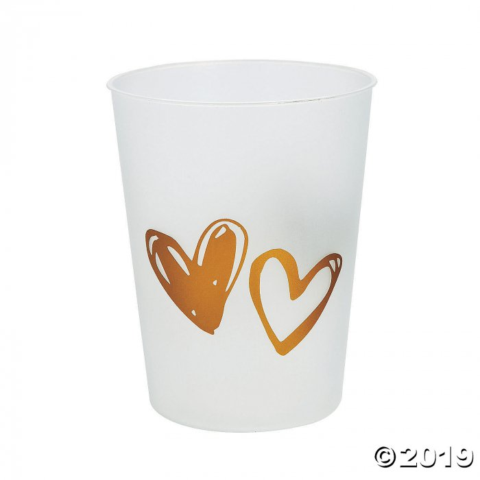 Gold Hearts Plastic Cups (24 Piece(s))