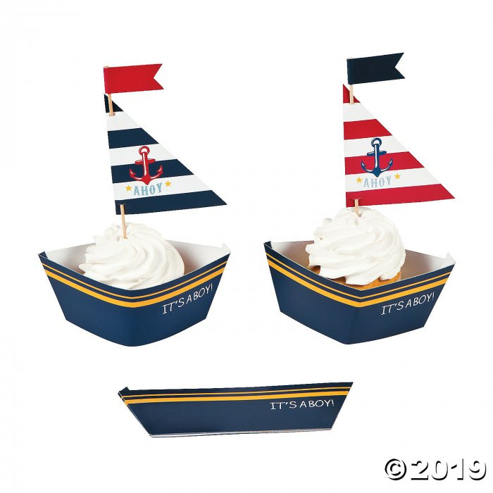 Nautical Baby Shower Cupcake Wrappers with Picks (100 Piece(s))
