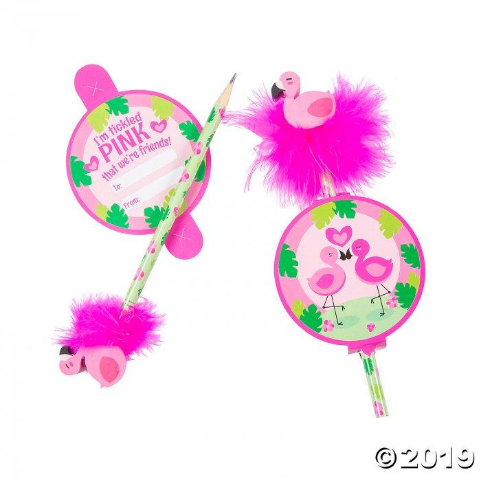 Valentine Flamingo Pencils with Feather Topper (Per Dozen)