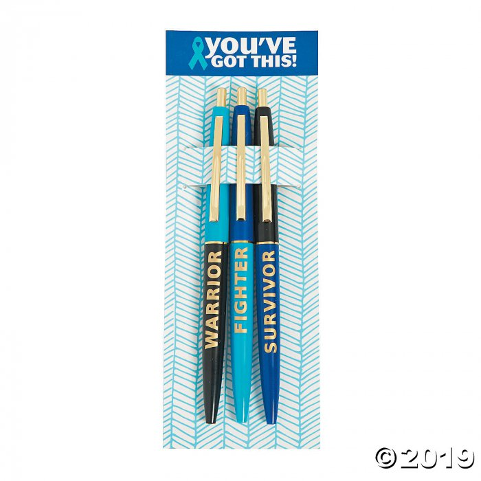 Blue Awareness Ribbon Survivor Pens (36 Piece(s))