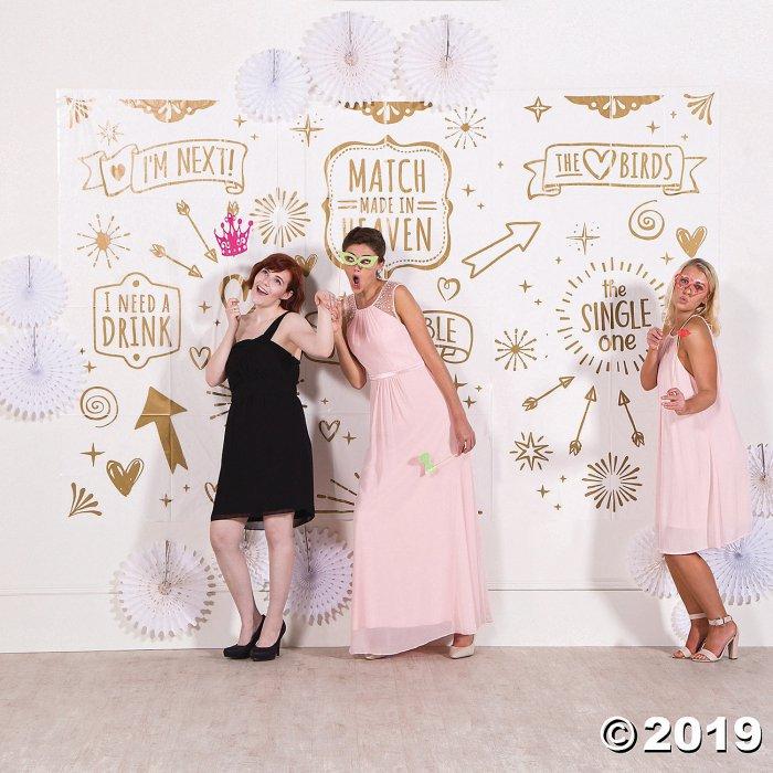 White & Gold Wedding Photo Booth Plastic Backdrop (1 Set(s))