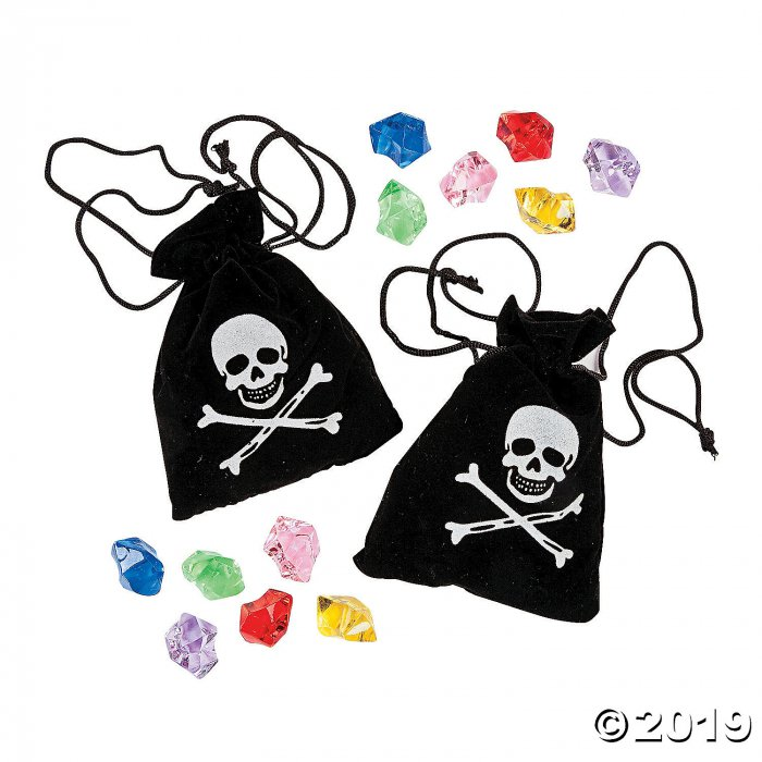 Pirate Drawstring Bags with Jewels (Per Dozen)