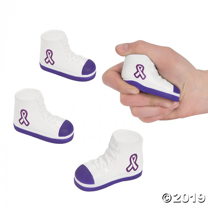 Purple Awareness Ribbon Tennis Shoe Stress Toys (Per Dozen)