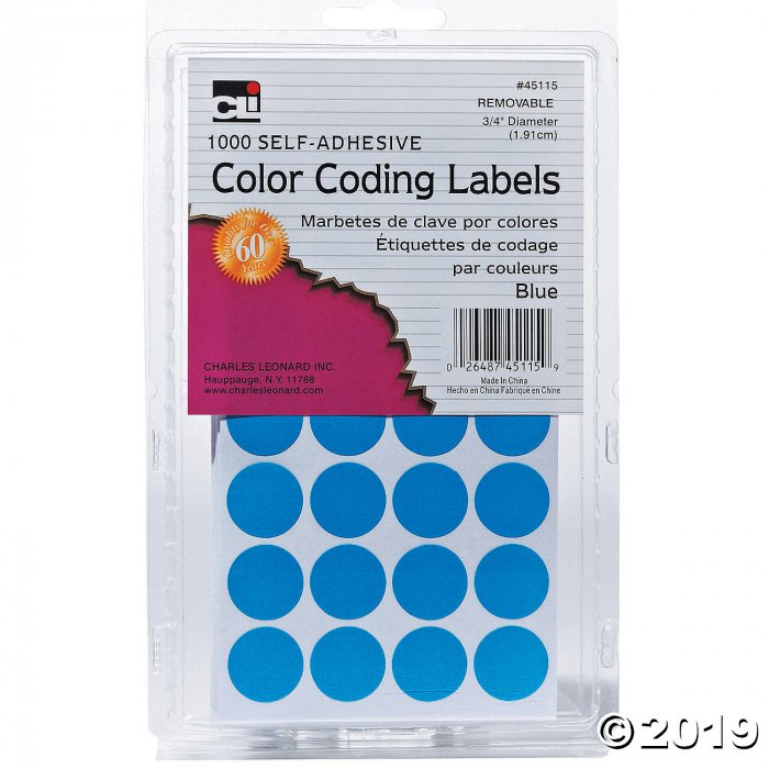 Blue Color Coding Labels, Pack of 1000, Set of 12 Packs (12 Piece(s))