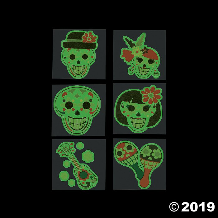 Day of the Dead Glow-in-the-Dark Tattoos (72 Piece(s))