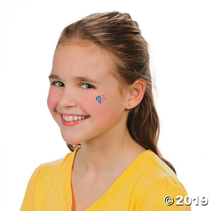 Patriotic Glitter Flag Tattoo Assortment (72 Piece(s))