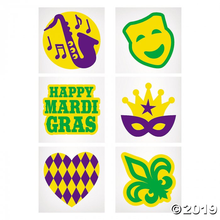 Mardi Gras Glitter Temporary Tattoos (1 Unit(s))