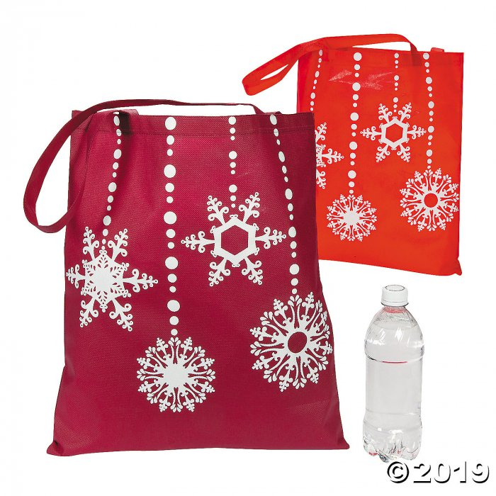 Large Red & White Snowflake Tote Bags (Per Dozen)