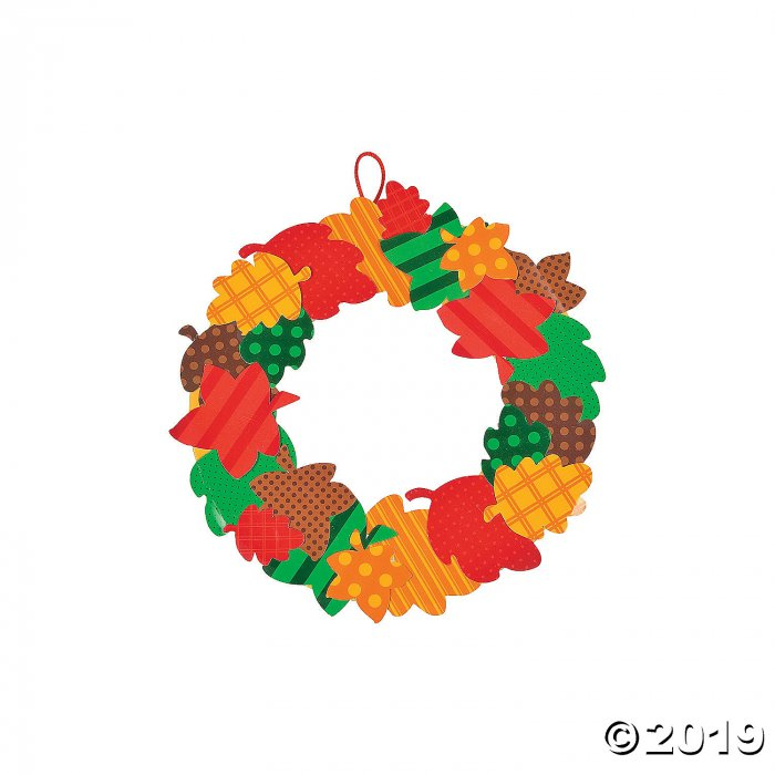 Fall Leaves Paper Wreath Craft Kit (Makes 12)