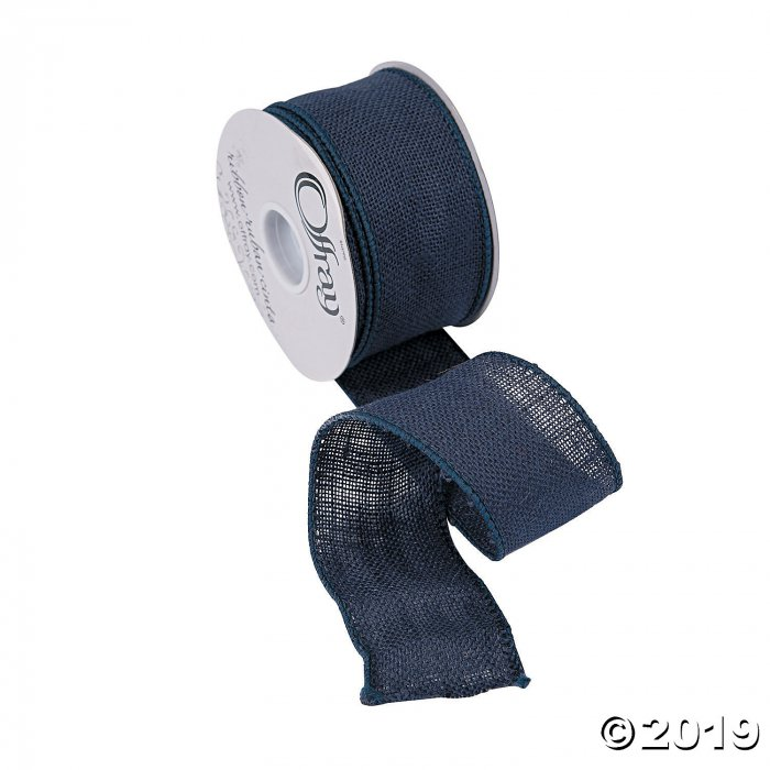Navy Blue Burlap Ribbon - 2 1/2 (1 Roll(s))