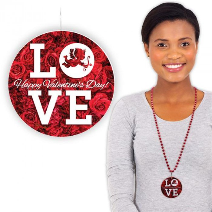 "Valentines Love Bead 33"" Necklaces (Per 12 pack)"