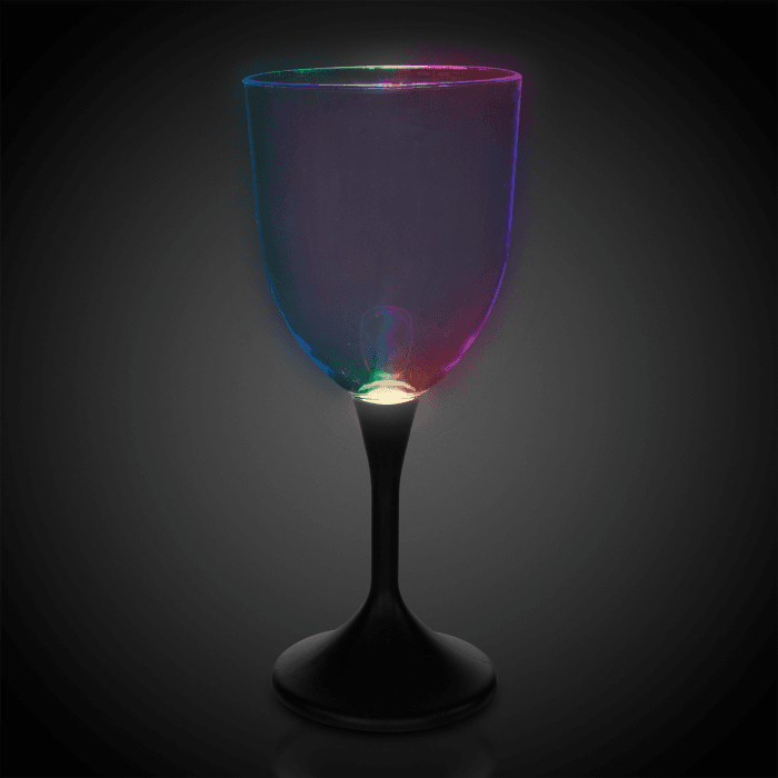 LED Light Up Wine Glass Black Stem - 10 oz.