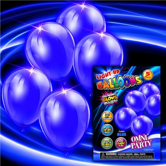 Blue Light Up Balloons (Per 5 pack)