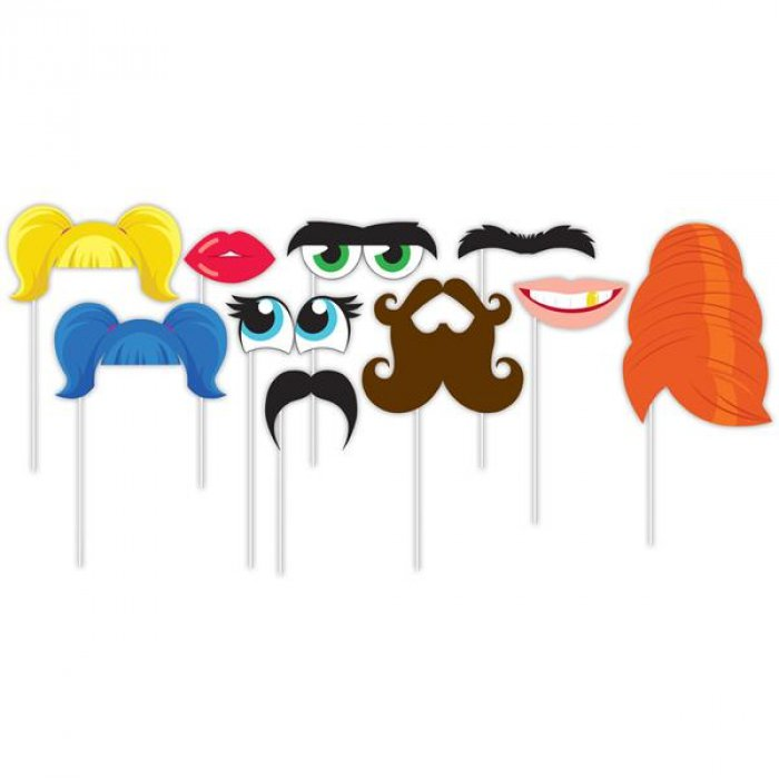 Faces Photo Booth Prop Kit (Per 10 pack)