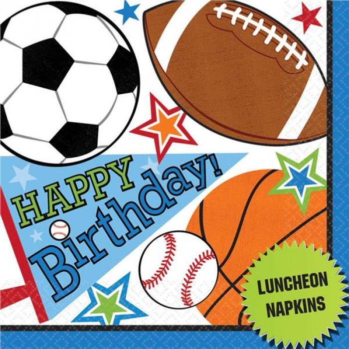 Sports Birthday Lunch Napkins (Per 16 pack)