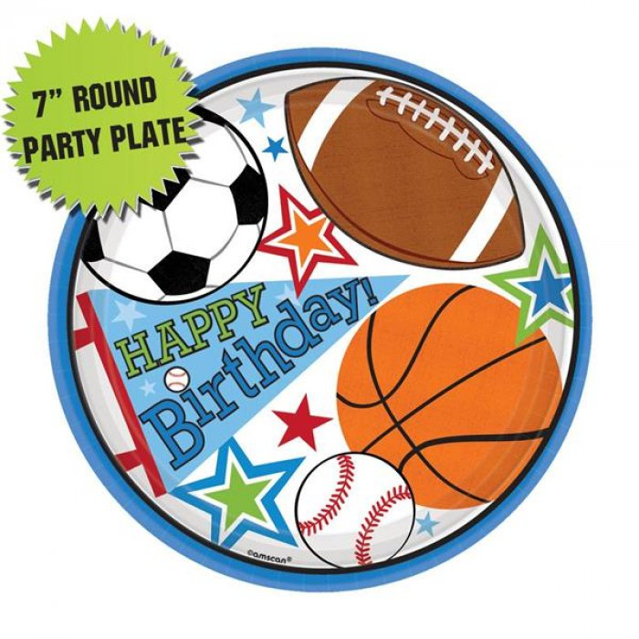 "Sports Birthday Party 7"" Plates (Per 8 pack)"