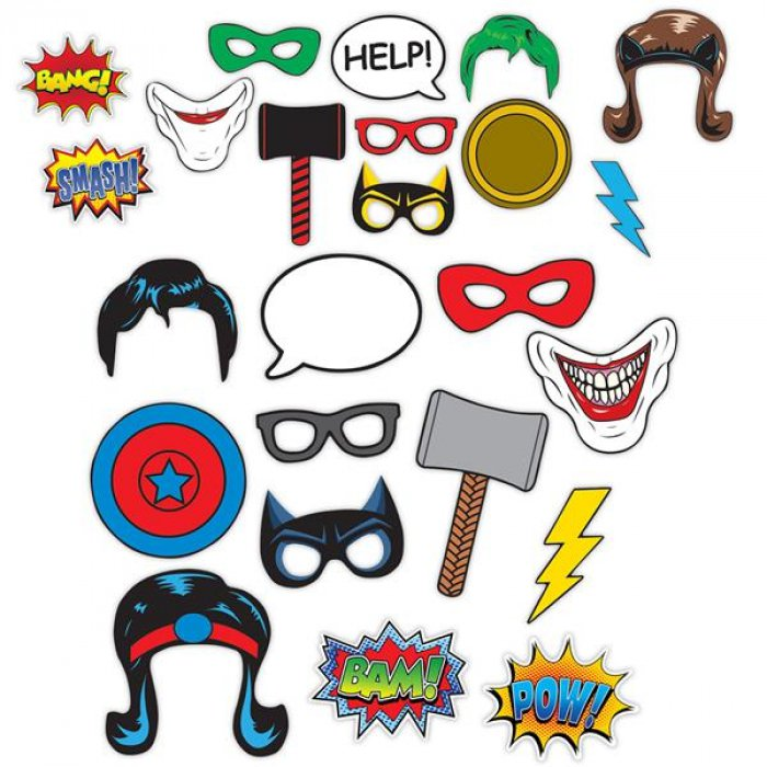 Hero Photo Booth Prop Kit (Per 12 pack)
