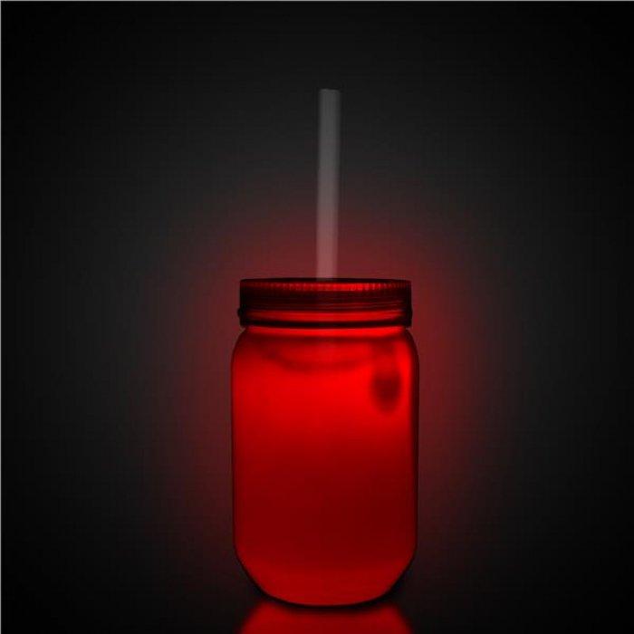 LED 20 oz White Mason Jar with Straw