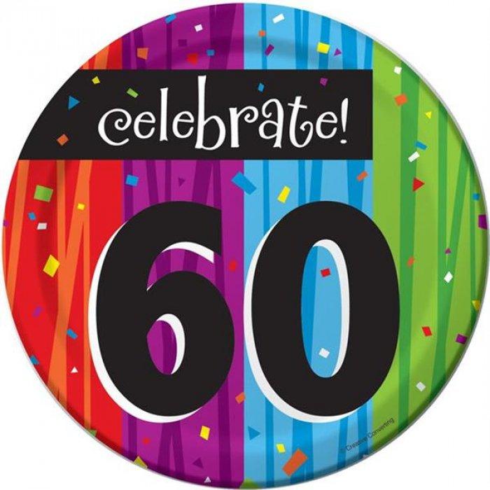 "Rainbow Celebration 60th Birthday 7"" Plates (Per 8 pack)"