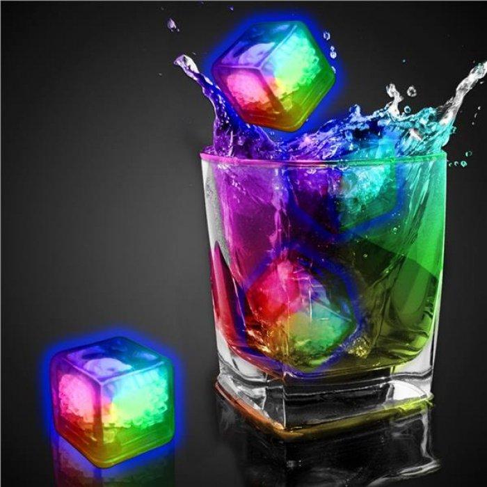 Rainbow Liquid Activated Light Up Ice Cubes (Per 12 pack)