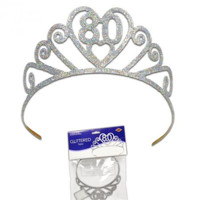 Glitter Heart 80 Birthday Tiara (Per tiara)