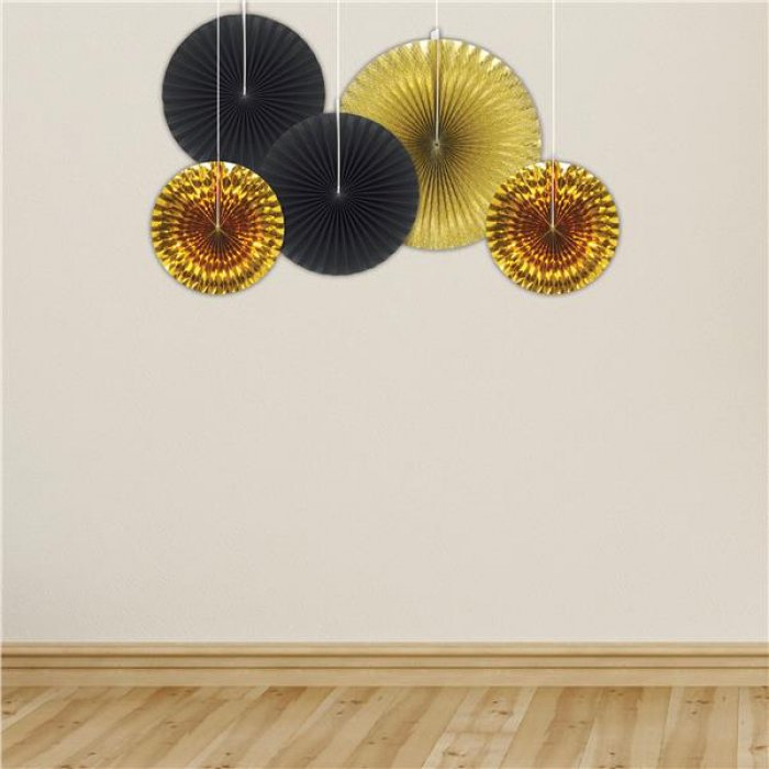 Black & Gold Fan Decorations (Per 5 pack)