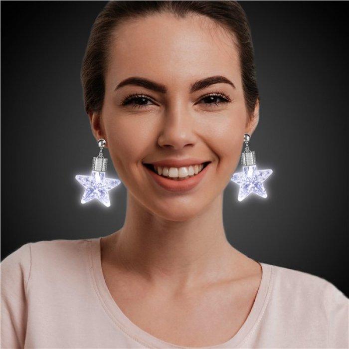 LED White Star Clip-On Earrings (Per pair)