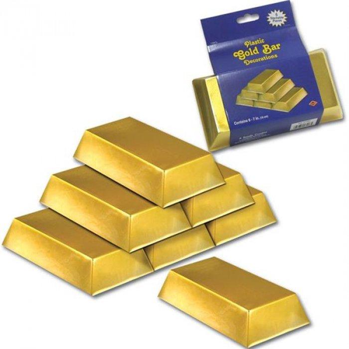 Gold Bar Decorations (Per 6 pack)
