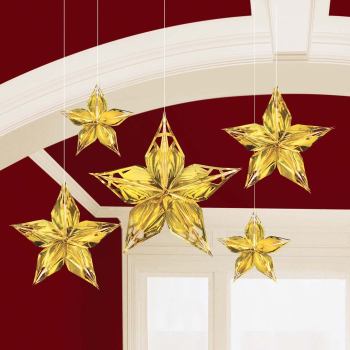 Glitz & Glam Metallic Star Decoration (Per 5 pack)