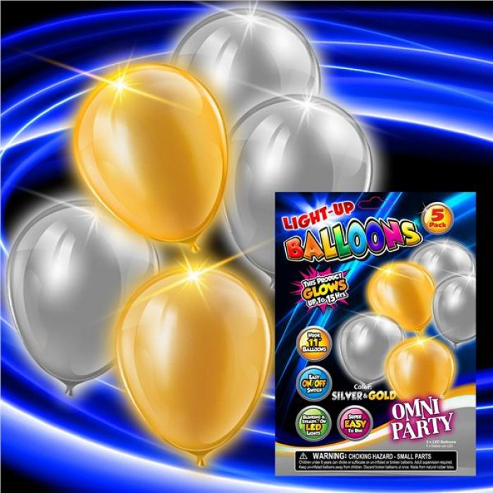 Gold & Silver LED Balloons (Per 5 pack)